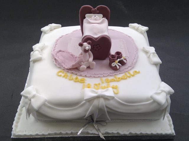 Christening Cake with Bows